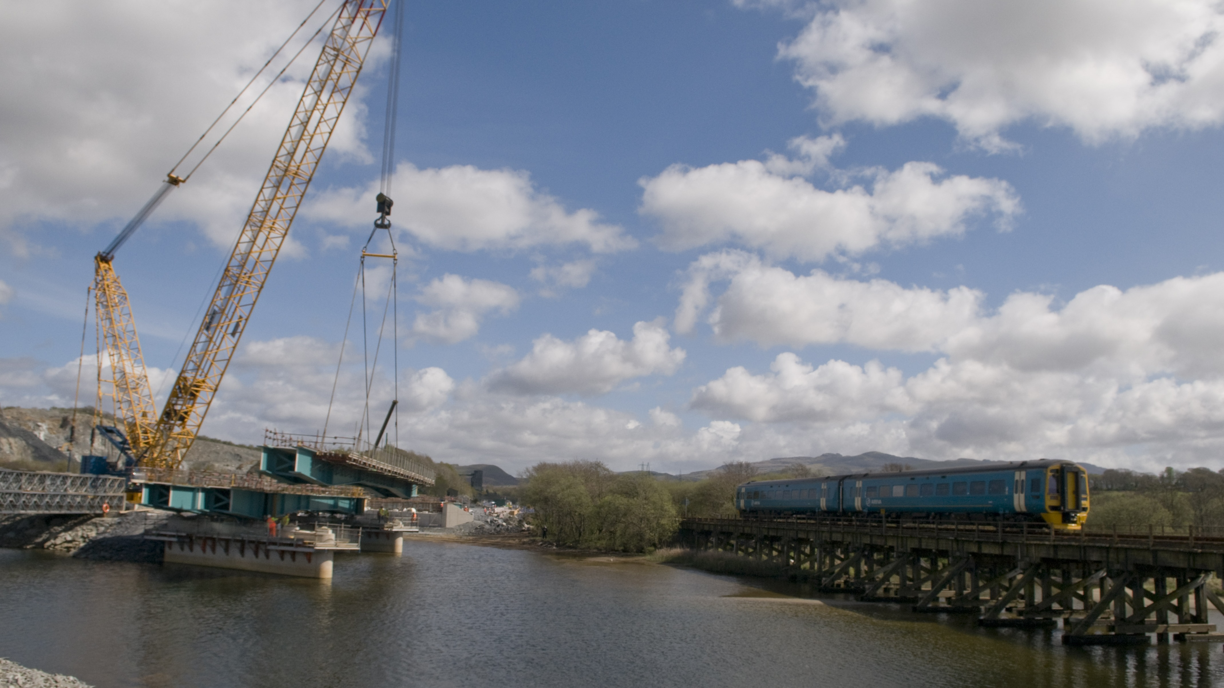 Glaslyn Bridge construction, Bailey Bridge and Cambrian Coast mainline