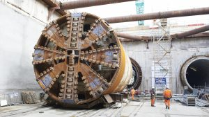 "Crossrail: Thames Tunnel - TBM ""Mary"" breaks through at Woolwich station"