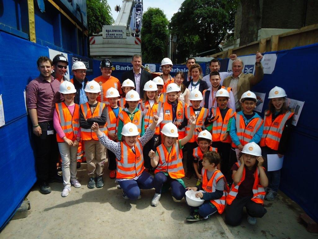 A school visits launch of the mini TBM for Green Lane Sewer