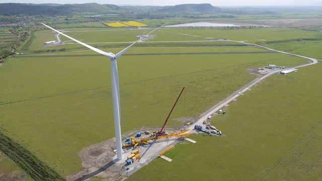 Aerial photo of turbine at Frodsham Wind Farm