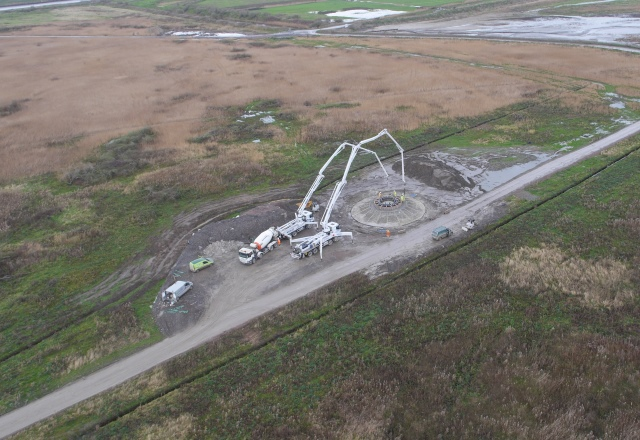 Aerial photo of construction of Frodsham Wind Farm