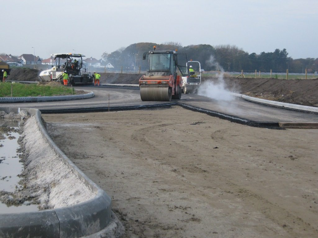 Surfacing work underway at Park View roundabout at the western end of the link road