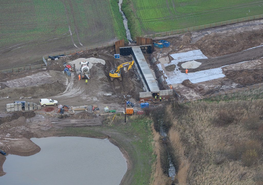 Works underway on the Netherton Brook culvert in December 2014 and adjacent drainage attenuation pond.