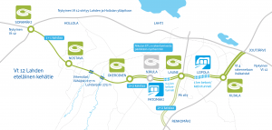 Map showing the VALTARI project extension of the VT12 road with a ring road around Lahti, Finland