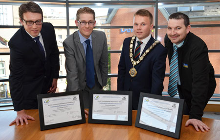 Certificates for the Schemes' Very Good Award were presented by CEEQUAL's Operations Director Philip Charles to Barney McEldowney, Contracts Manager at BSG Civil Engineering (Contractor) and Andrew McKeown, Project Officer from Capital Development, Antrim and Newtownabbey Borough Council (Client). The Mayor of Antrim and Newtownabbey, Councillor Thomas Hogg, was also in attendance.