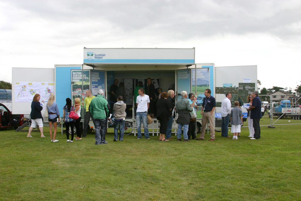 Scottish Water information caravan at Marymass Fair