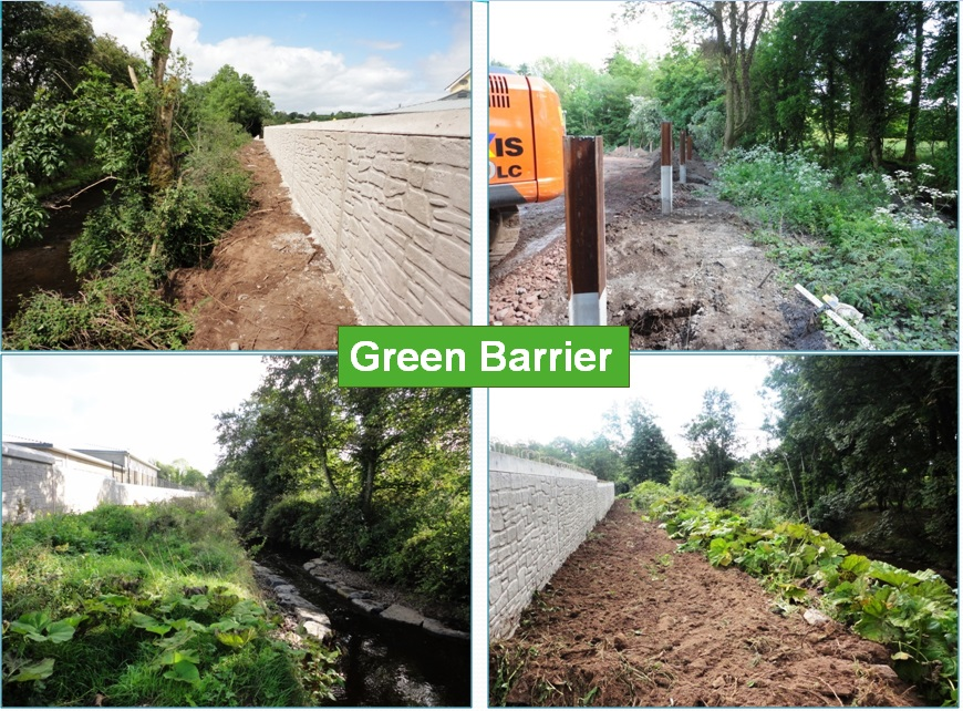 Photos of green vegetative barrier