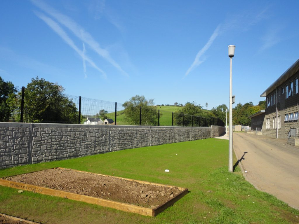 Completed flood wall at St Ciarans High School