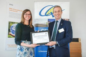 Kathryn Hamilton (Sir Robert McAlpine) receives 'Excellent' Construction Only Award for Dundee Central Waterfront