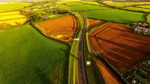 Aerial view of part of new offline section of road. Image: Alun Griffiths (Contractors) Ltd