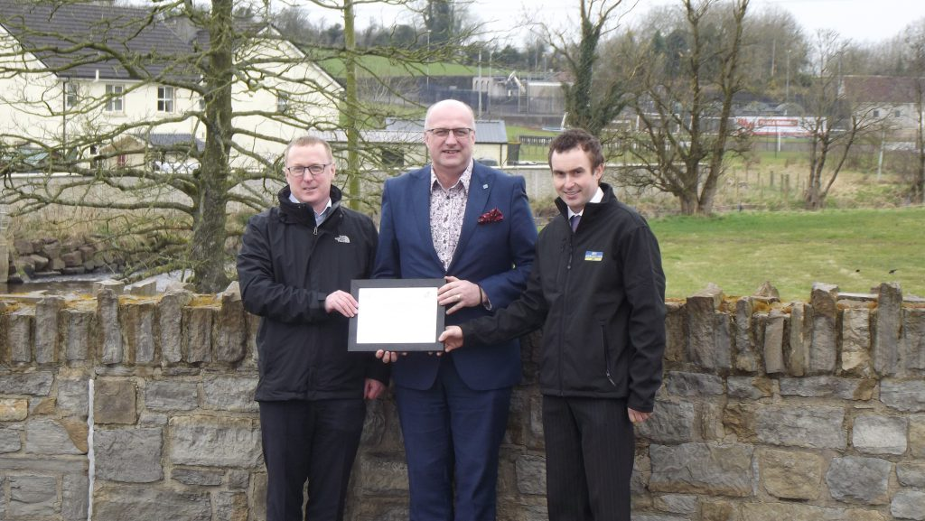 Left to Right: Owen McGivern – Rivers Agency Head of Operations, Ian Nicholson - CEEQUAL Technical Director, Sam Managh – BSG Civil Engineering Site Engineer.
