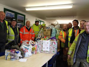 Christmas food bank donation at Frodsham Wind Farm